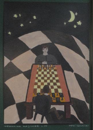"""2 Ogólnopolska Wystawa Pokonkursowa """"Królewska gra w szachy"""" 2021. Weronika Majcher. Zdjęcie - Ewa Felsztyńska-Korpalska."""