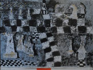 """2 Ogólnopolska Wystawa Pokonkursowa """"Królewska gra w szachy"""" 2021. Łukasz Wypchło - nagroda. Zdjęcie - Ewa Felsztyńska-Korpalska."""