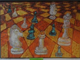 """2 Ogólnopolska Wystawa Pokonkursowa """"Królewska gra w szachy"""" 2021. Ola Lange - wyróżnienie. Zdjęcie - Ewa Felsztyńska-Korpalska."""
